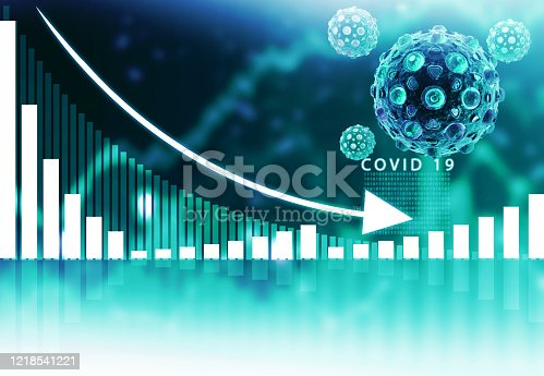 Financial crisis chart. Coronavirus affecting economy. 3d illustration