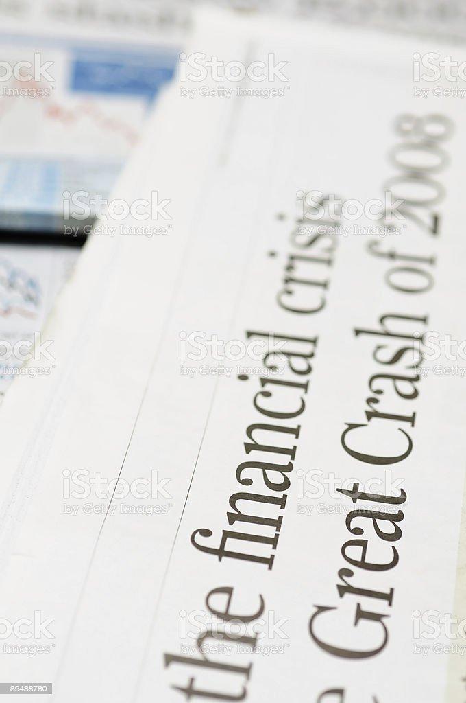 Financial crisis headlines stock photo