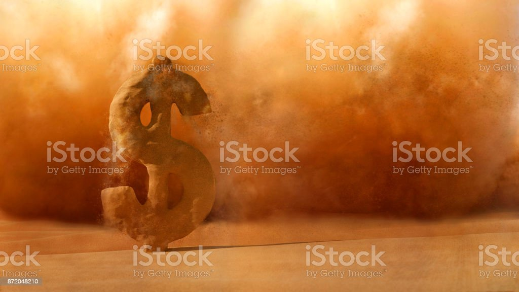 Financial Crisis , Sandstorm Dollar sign dissolve stock photo