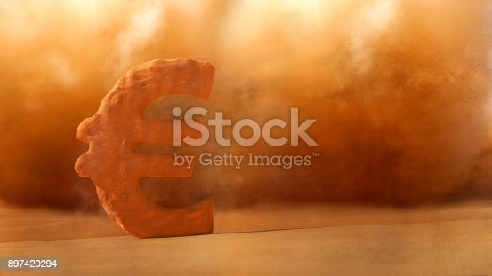 istock Financial Crisis , Sandstorm Euro sign dissolve 897420294