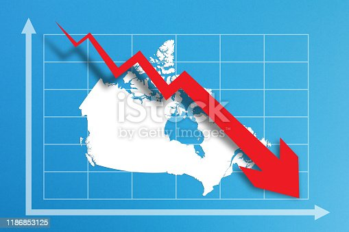 618516848istockphoto Financial crisis with Canada map on business chart 1186853125