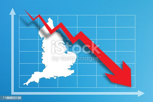 618516848istockphoto Financial crisis with England map on business chart 1186853135
