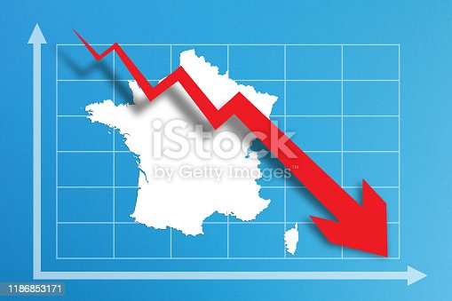 618516848istockphoto Financial crisis with France map on business chart 1186853171