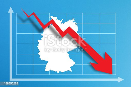 618516848istockphoto Financial crisis with Germany map on business chart 1186853283