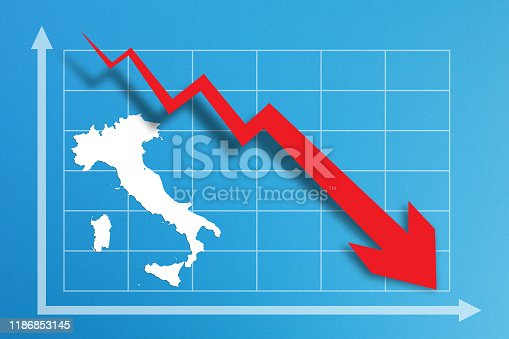 618516848istockphoto Financial crisis with Italy map on business chart 1186853145