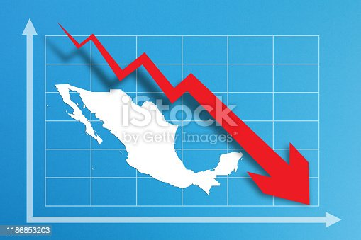 istock Financial crisis with Mexico map on business chart 1186853203