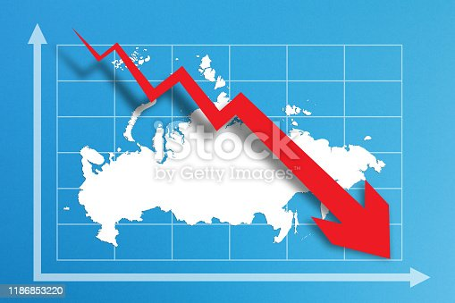 618516848istockphoto Financial crisis with Russia map on business chart 1186853220