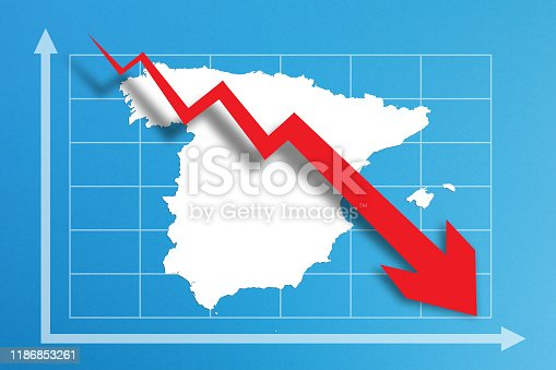 istock Financial crisis with Spain map on business chart 1186853261