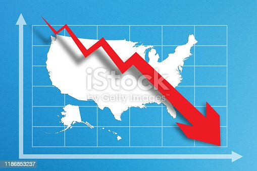 618516848istockphoto Financial crisis with USA map on business chart 1186853237