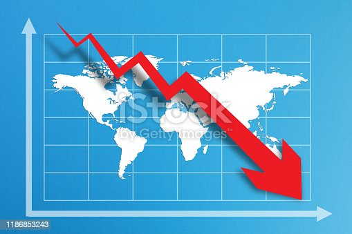 618516848istockphoto Financial crisis with world map on business chart 1186853243