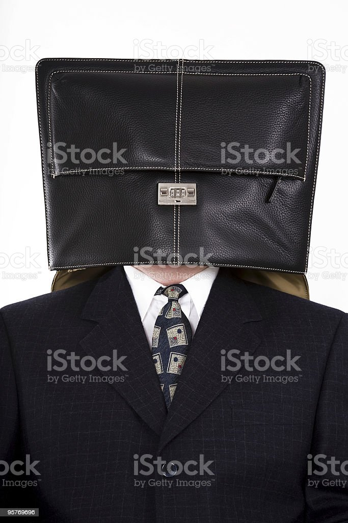 Financial Crisis,Recession, Businessman with Suitcase on his Head royalty-free stock photo
