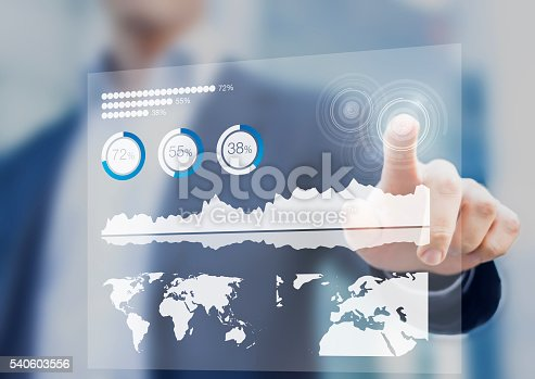 519831260 istock photo Financial dashboard with key performance indicators and digital touch interface 540603556