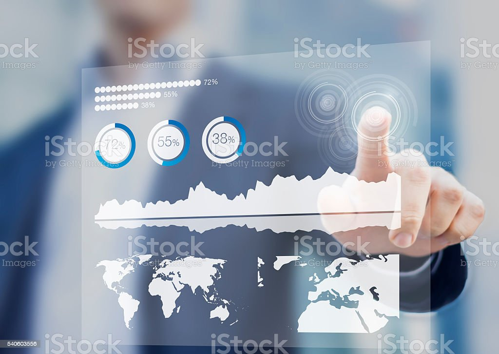 Financial dashboard with key performance indicators and digital touch interface stock photo