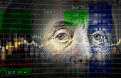 istock Financial Data Analysis Graph Over One Hundred American Dollar Bill 1178308887