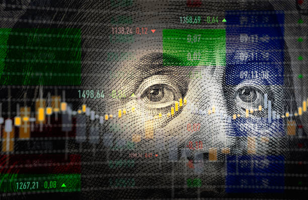 financial data analysis graph over one hundred american dollar bill - dollar bill stock pictures, royalty-free photos & images