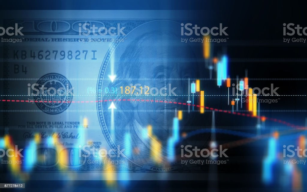 Gráfico de análisis de datos financieros dolar americano de más de cien foto de stock libre de derechos