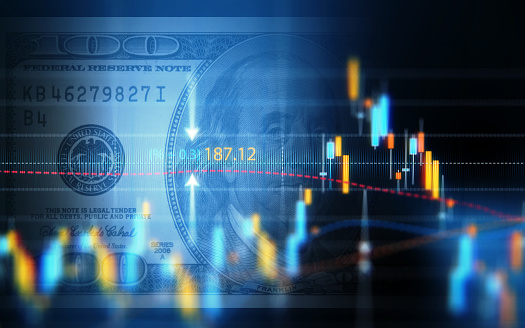 istock Financial Data Analysis Graph Over One Hundred American Dollar Bill 877278412