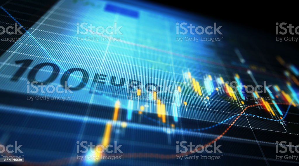 Financial Data Analysis Graph Over One Hundred Euro Bill stock photo