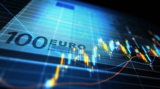 analyse der finanziellen daten grafisch darstellen über hundert euro bill - euro symbol stock-fotos und bilder