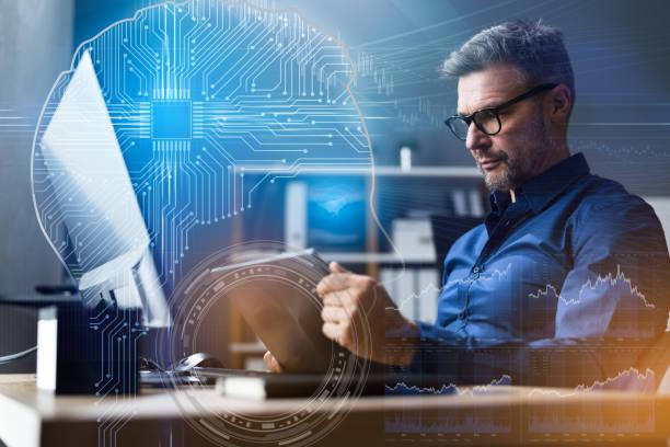 Financial Data Analyst Using AI stock photo