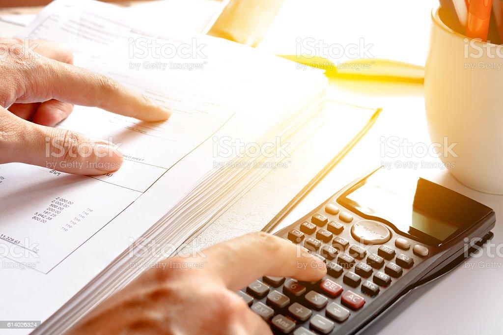 Financial data analyzing. savings, finances, economy. Close-up p stock photo