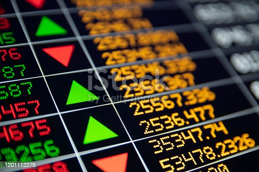 Finance and business data from a real trading screen. Bright colors and depth of field. All data and numbers imitation, not real.