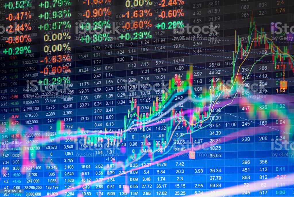 Datos financieros en un monitor, datos de la bolsa de LED - Foto de stock de Crecimiento libre de derechos
