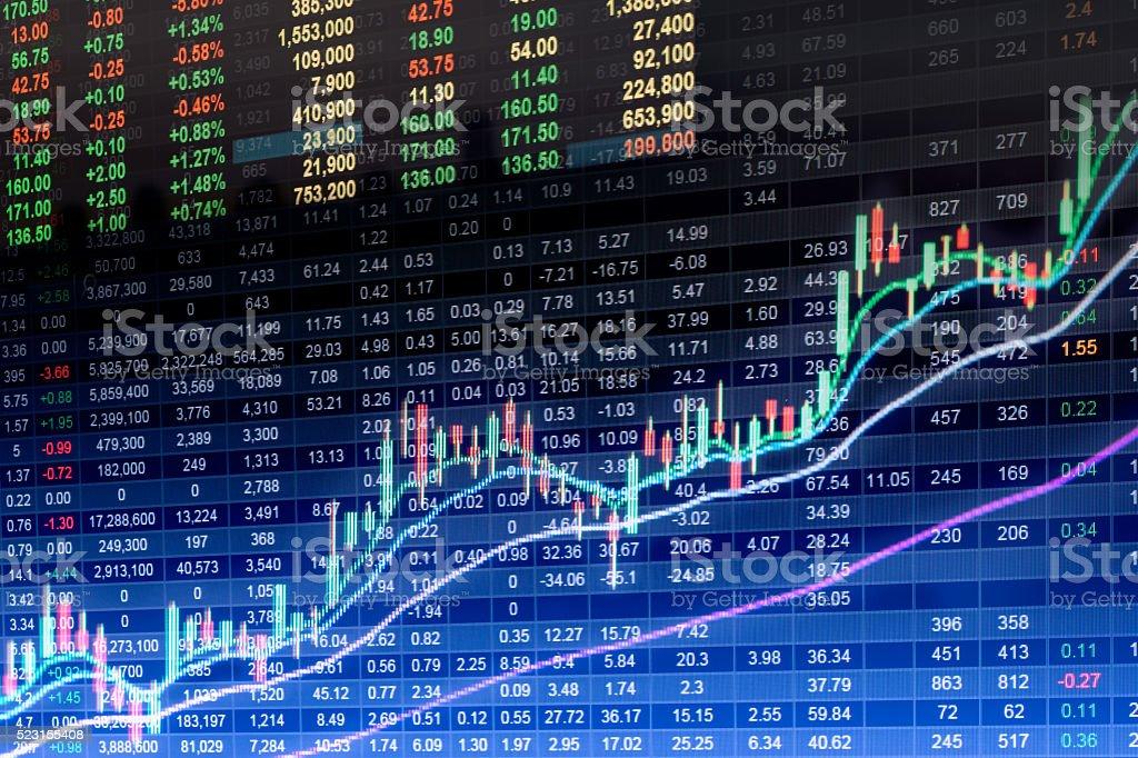 Finanzdaten auf einem monitor, Börsenkurs auf LED – Foto