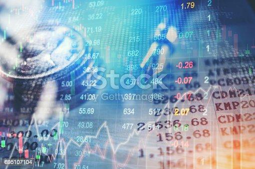 istock Financial data on a monitor,Stock market data 695107104