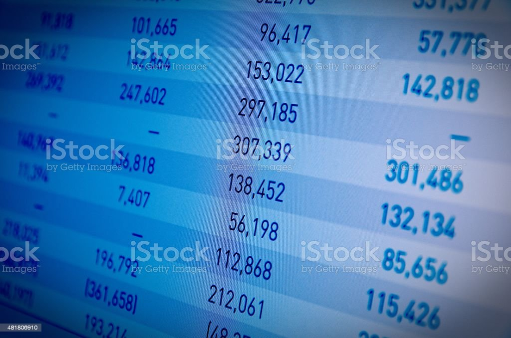 Financial data on PC screen stock photo