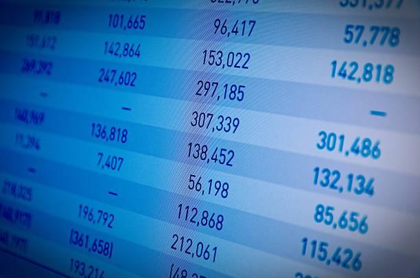 Finanzielle Daten auf dem PC-Bildschirm – Foto