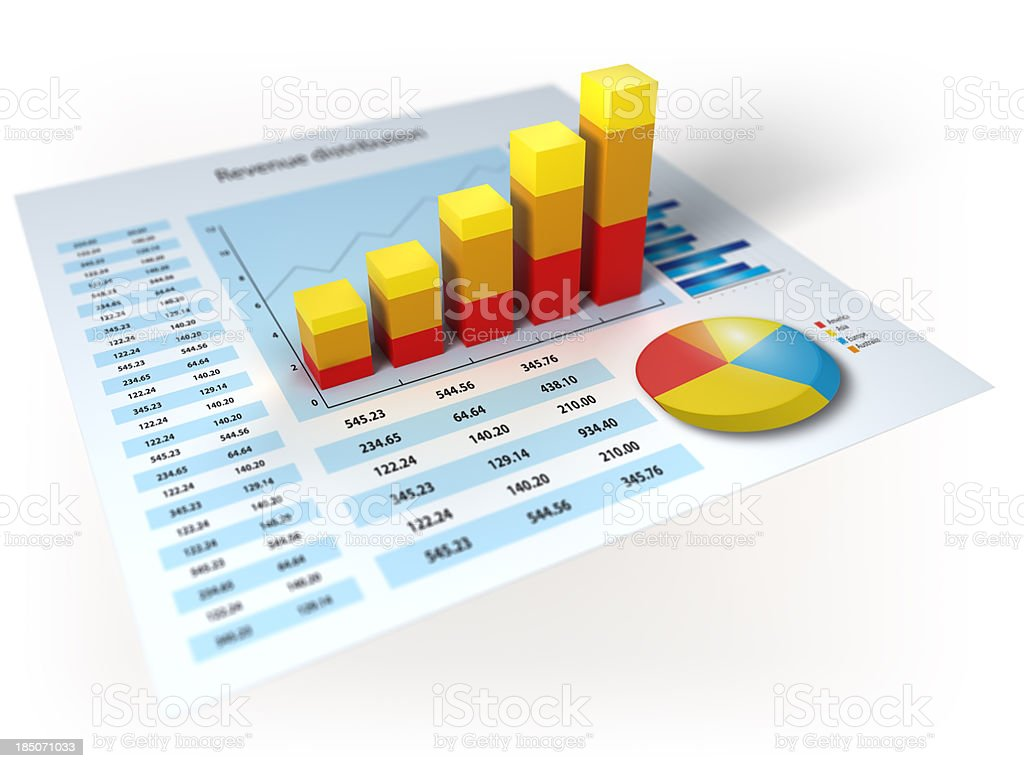 Financial data with 3d diagram royalty-free stock photo