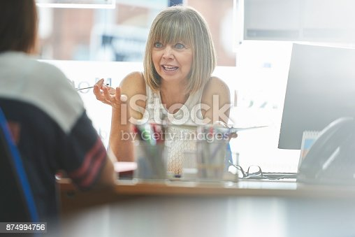 Businesswoman in meeting with customer in the office