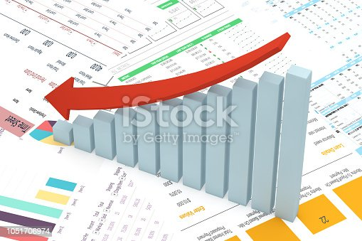 Bar Graph, Chart, Data, Graph, Stock Market Data, Decreasing Arrow
