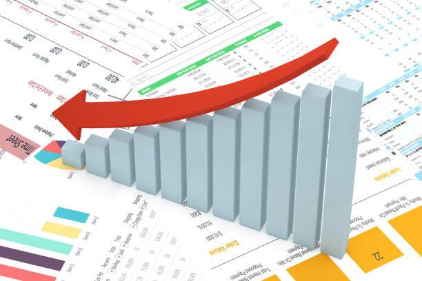 Finanzielle abnehmender Diagramm, Balkendiagramm mit roter Pfeil – Foto