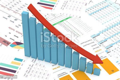 Bar Graph, Chart, Data, Graph, Stock Market Data, Decreasing Arrow