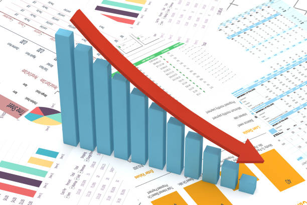 Financial Decreasing Chart, Bar Graph with red arrow stock photo