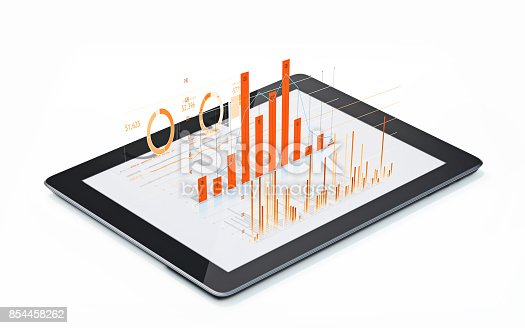 istock Financial Diagrams and Charts Being Projected From A Digital tablet 854458262