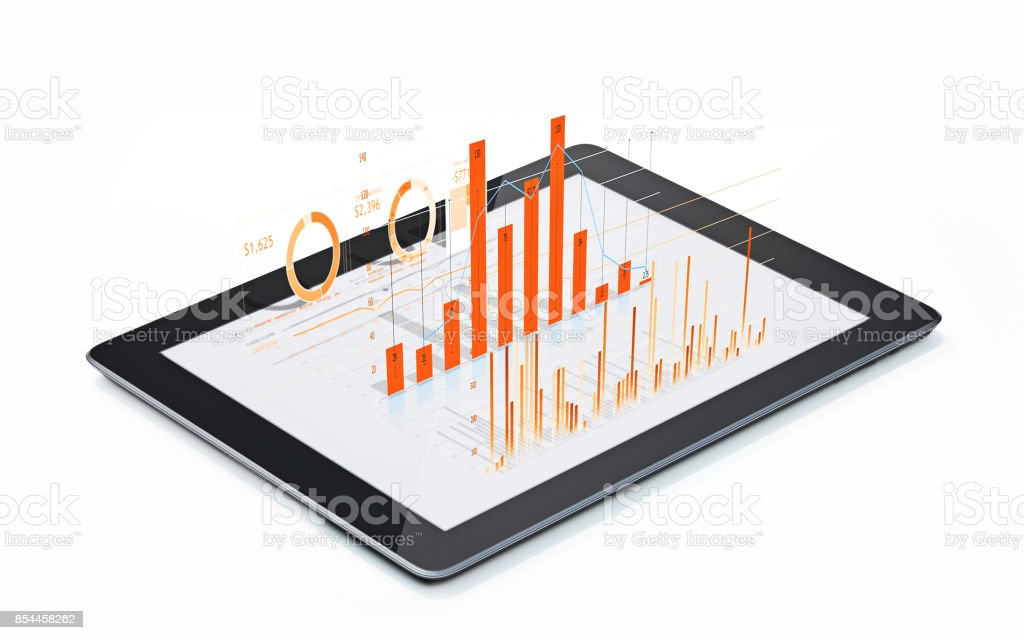 Financial Diagrams and Charts Being Projected From A Digital tablet - foto stock