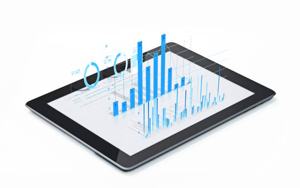 financial diagrams and charts being projected from a digital tablet - instrument of measurement stock pictures, royalty-free photos & images