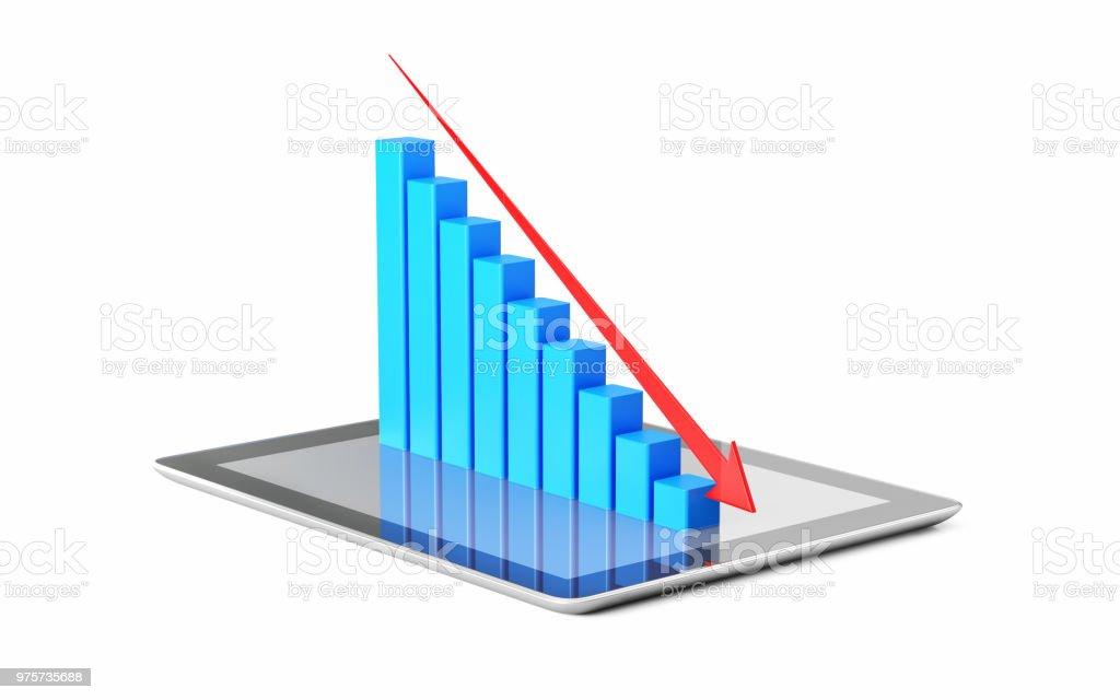 Finanzielle Diagramme und Charts von einem digitalen Tablet projiziert wird - Lizenzfrei Analysieren Stock-Foto