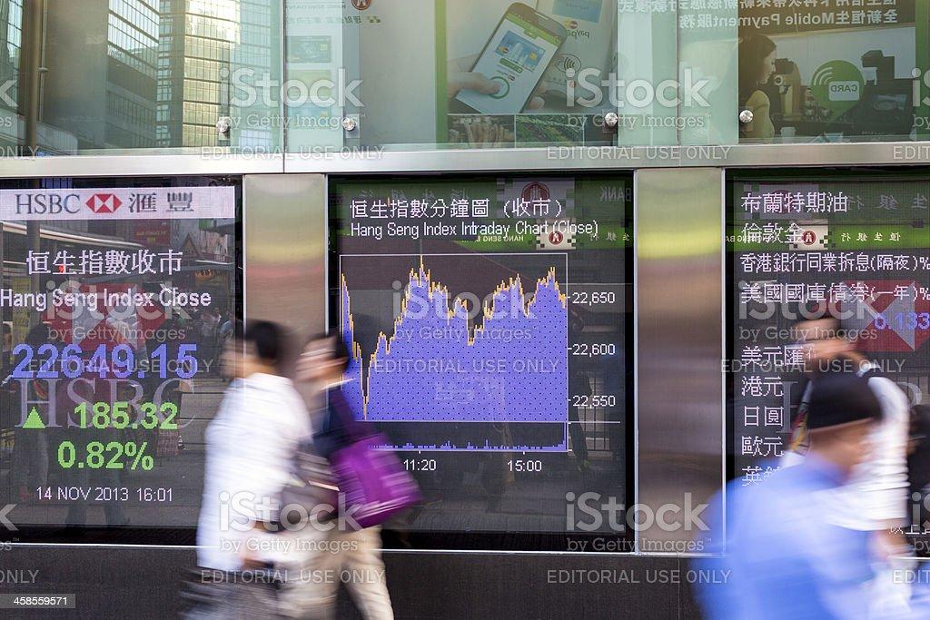Financial display board stock photo