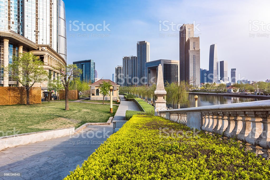 financial district at a sunny day foto royalty-free