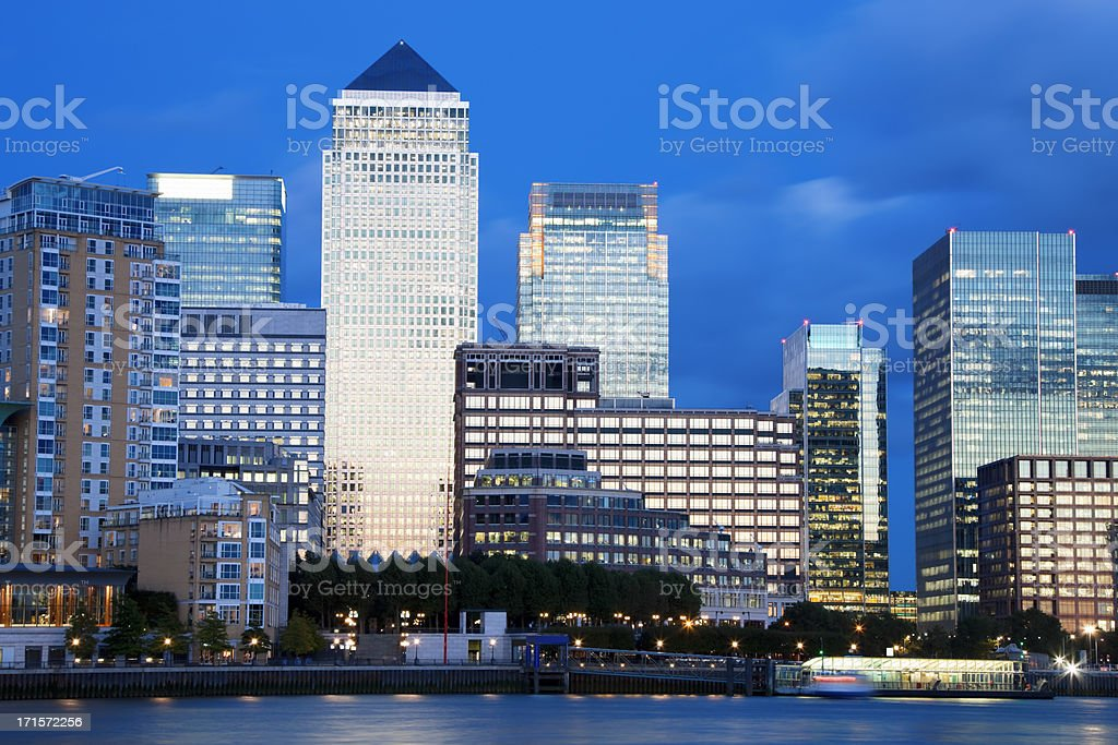 Financial District at Dusk, in Canary Wharf, London, UK stock photo