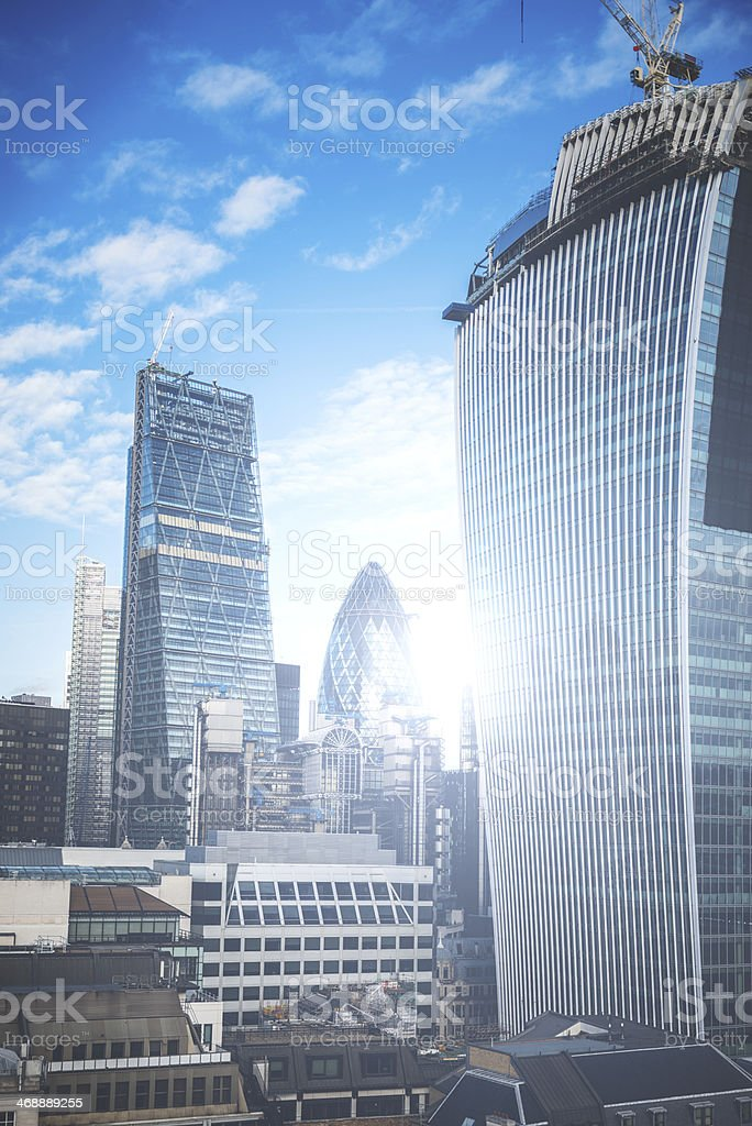 financial district cityscape in london stock photo