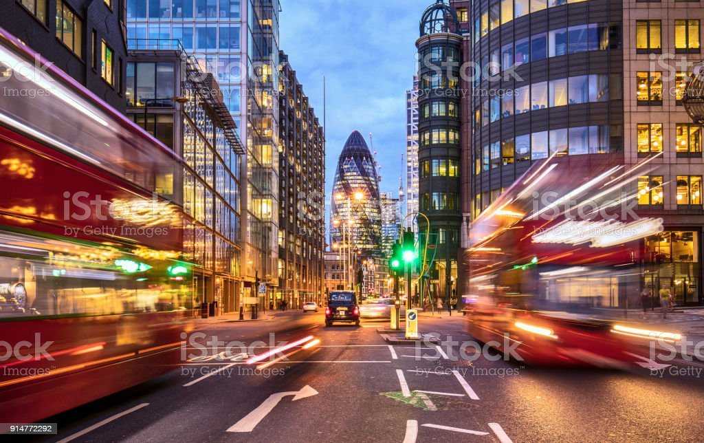 Financial district in London at dusk stock photo