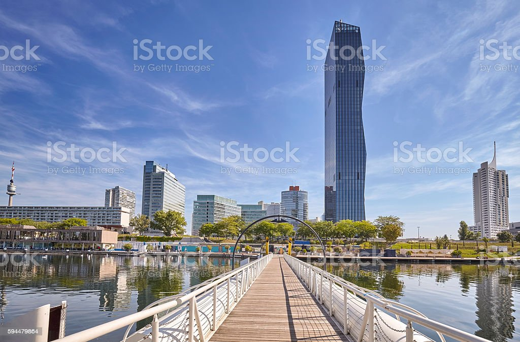 Financial district in Vienna with Danube river. stock photo