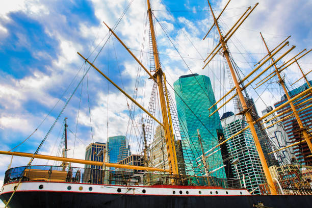 Financial District, New York, as Seen from South Street Seaport Financial District, New York, as seen from South Street Seaport south street seaport stock pictures, royalty-free photos & images