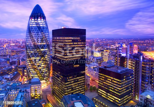 Elevated view of the financial district of London at dusk london england