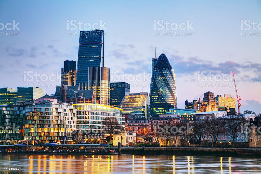 Financial district of the City of London stock photo
